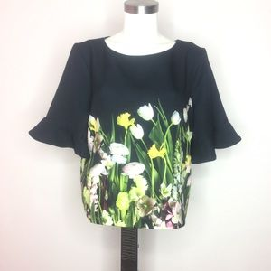 Victoria Beckham | Floral Flare Sleeve Crop Blouse